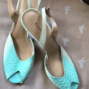 "New Teal Leather Open-toe Slingback 3 1/2""  (9.5M)"